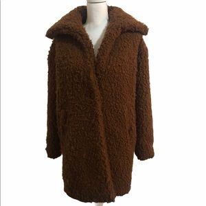 American Eagle Sherpa Coat Jacket. Brown. Small.